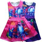 New Kids Girl Trolls Princess Sleeveless Party Birthday Skirt Pleated Tutu Dress image