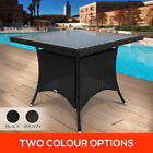 90cm PE Flat Rattan Outdoor Dining Table Garden Pool Patio w/ Glass Table Top