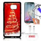 Samsung S6 Edge+ Plus 5.7' Case Cover Tempered Glass Film A4873 Christmas Tree
