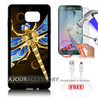 Samsung S6 Edge+ Plus 5.7' Case Cover Tempered Glass Film A4874 Dragonfly