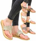 Ladies Beach Low Wedge Flat Summer Genuine Leather Womens Sandals Slippers Shoes