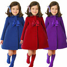 Winter Autumn 1-7 T Girls Toddlers Warm Long Sleeve Formal Party Dress Coat Bows