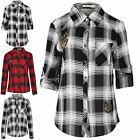 Ladies Women Check Shirt BS2B Badge Long Sleeve Collared Tarton Button Down Top
