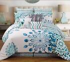 Teal Blue White Peacock Design 9P QUEEN or KING size Comforter Bedding Set