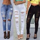 New Women High Waisted Ripped Knee Cut Skinny Long Jeans Pants Trousers CAPF