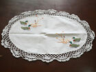 "T107 Handmade Embroidery Crochet White Cotton 14"" x 20"" Oval Doily Placemat"