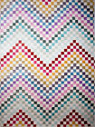 Abstract Multi-Color Area Rug Modern ZigZag Wave Lines Squares Distressed Rug