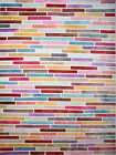 Multi-Color Abstract Area Rug Contemporary Lines Squares Distressed Faded Rug