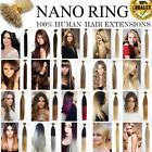 "Premier 7A Grade 100% Remy 16""-22"" Nano Ring Bead Tip Human Hair Extensions 1g"