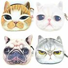 "Ladies girls coin purse cat dog novelty animal large 3D purses faux fur 4"" x 5"""