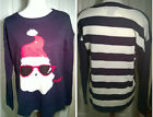 Santa in Sunglasses Ugly Christmas Holiday Sweater Party Navy & White New Funny