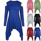 Womens Ladies Flared Swing Round Neck Long Sleeve Peplum Frill Hanky Hem Dress