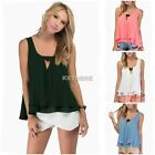 Fashion Women Summer Loose Casual Chiffon Sleeveless Vest Shirt Tops Blouse K0E1