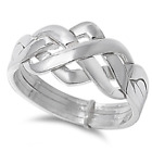 Sterling Silver 925 4PCS.PUZZLE DESIGN BAND RINGS 11MM