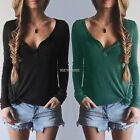 Women V-Neck Pullover Solid Button Blouse Casual Tops Knitwear Shirt Sexy