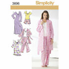 Simplicity 3696 Paper Sewing Pattern Misses 4-22 Jammies Pant Shorts Robe Gown