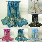 Fashion Summer Beach Silk Scarves Shawls For Women with Print Peacock Design New