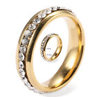 Mens Spheric Surface Rhinestone Gold Plated Stainless Steel Jewelry Party Ring