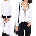 CHIC Women's Loose Long Sleeve Chiffon Casual Blouse Shirt Tops Fashion Blouse
