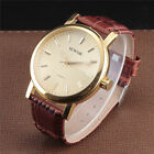 Gift New Fashion Steel Case Mens Gold Mechanical Wrist Watch Leather Sports