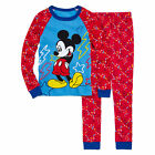 Disney Mickey Boys 2 Piece Cotton Pajama Set Red Blue Multi size 3 NEW