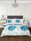 FLORENCE WHITE/TEAL Duvet Quilt Cover with Pillow Case Set SINGLE DOUBLE KING
