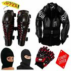 COMBO OF FOX BODY ARMOR RAPTOR KNEE GUARD RED,P-BIKER GLOVES RED & FACE MASK