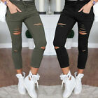 New Fashion Womens High Waist Denim Stretch Jeans Skinny Ripped Trousers Pants