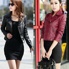 Womens Fashion Soft Leather Zip Biker Motorcycle Slim Casual Short Jacket Coat