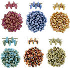 24 Superduo 2 Hole Czech Glass Seed Beads 2x5mm Way Cool Colors