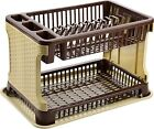 New 2 Tier layer Rattan Dish Drainer Cutlery Plate Storage Rack Holder Organizer
