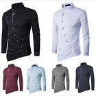 Fashion Men's Slim Personality Inclined Turn Down Collar Long Sleeve Shirts Tops