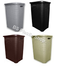Eco Plastic Rattan 45 Liter Laundry Basket With Lid Washing Clothes Storage New