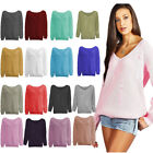 Womens Long Sleeve Ripped V Neck Loose Ribbed Knitted Sweater Distressed Jumper