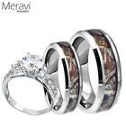 Womens 925 Sterling Silver Ring Mens Titanium Mossy Forest Oak Camo Band 3pc Set