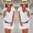 Women Summer Casual Sleeveless Evening Party Beach Dress Short Mini Dress S-4XL