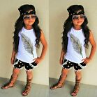 3PCS Summer Kids Girl Clothes Sleeveless Vest Tops Shorts Pants Outfits Set 2-7Y