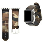 For Apple Watch iWatch 38MM/42MM Camouflage Sports Leather Strap Watchband Band