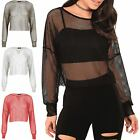 Womens Ladies Long Sleeve All Over Fishnet See Through Oversize Baggy Crop Top