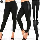 New Womens Ladies Pvc Wetlook Side Panel Contrast Skinny Fitted Jegging Leggings