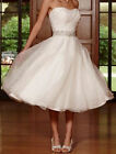New Organza Ivory Short Beads Wedding Dress Bridal Gown Size 6/8/10/12/14/16/18