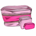 Victoria's Secret 3 Piece Train Case Cosmetic Travel Bag Set Make Up Pink Vs New