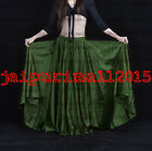 OLIVE GREEN 360 Full Circle Satin Long Skirt Swing Belly Dance Costumes S 3XL