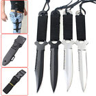 Tactical Stainless Steel Fixed Blade Knife Cord-Wrapped Handle Black Arc head