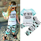 2pcs Kids Baby Girl Cotton Outfit Letter Shirt Top + Flare Pant Girl Clothes Set