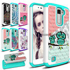For LG K10 2016 / LG Premier LTE Hybrid Rugged Bling Hard Dual Layer Case Cover