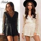 Women Lace Sequin Jumpsuit Romper Hollow Out Summer Flare Sleeve Playsuit Nice