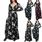 Womens Ladies Floral Silver Buckle Belt V Neck Front Tie Knot Twisted Maxi Dress