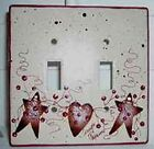 Rusty Tin Stars and Hearts Pip Berry Vine Stoneware Switch Plate Cover