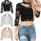 Womens Ladies Choker Neck 3/4 Sleeve Lined Floral Lace Scalloped Hem Crop Top